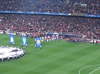 2007 UEFA Champions League Final - The Liverpool and Barcelona players entering the pitch before their first leg tie at the Camp Nou