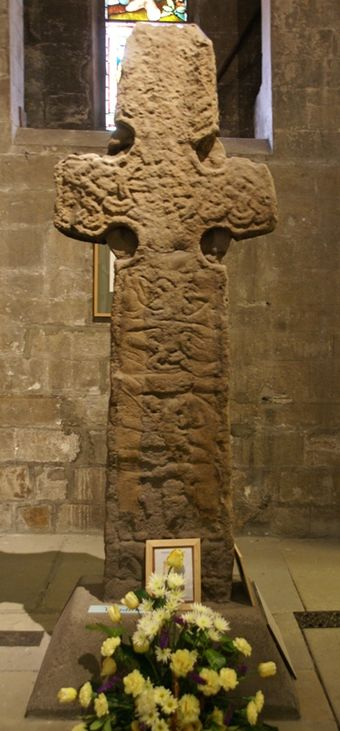 Barochan Cross, a stone high cross, dating between the eighth- and tenth century. This British monument is an example of the so-called 'Govan School' of sculpture. Barochan Cross 20120410.jpg