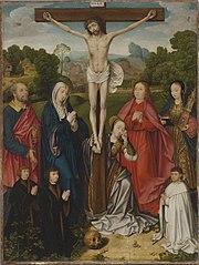Kreuzigungsaltar: Christus am Kreuz mit hll. Petrus, Maria, Maria Magdalena, Johannes d. Ev. und Barbara sowie drei Stiftern