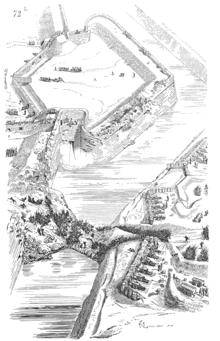 immagine artistica di un bastione durante un assedio scientifico, notare gli orecchioni rotondi che coprono i fianchi, da cui parte il tiro radente a coprire la cortina. La gola del bastione (la sua comunicazione con il resto della fortificazione) è chiusa in previsione di una difesa ad oltranza