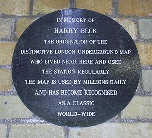 Harry Beck - Memorial plaque at Finchley Central tube station