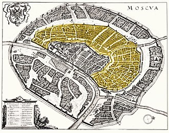 Bely Gorod - Bely Gorod (highlighted in yellow) on Matthäus Merian's map of Moscow