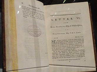 Experiments and Observations on Electricity - Typical letter in the book - July 27, 1750.   Letter V in the first three English editions is   Letter VI in fourth and fifth English editions.