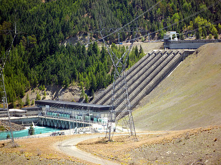 Benmore Dam is the largest of eight dams within the Waitaki power scheme and was commissioned in 1965. Benmore Power Stn NZ.jpg