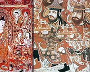 Sogdian in Sassanid style dresses donors to the Buddha (fresco, with detail), Bezeklik, eastern Tarim Basin, China, 8th century.