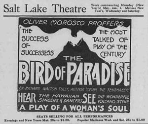 "Joseph Kekuku - A 1916 advertisement for the famous play ""Bird of Paradise."" The Broadway show popularized Hawaiian music to Americans since 1912."