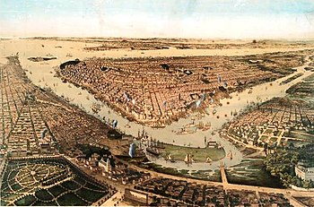 A Birds Eye View Of New York City From 1859 Wallabout Bay And The East River Are In Foreground Hudson Background