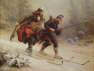 Haakon IV of Norway - 19th-century impression of the birkebeiner bringing the infant Haakon to safety (Knud Bergslien).