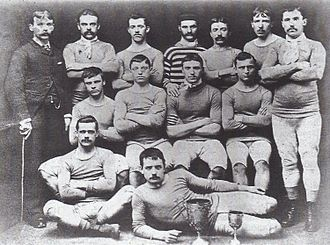 Blackburn Olympic F.C. - The Olympic players of 1882 display the two trophies the club won in the first four years of its existence.