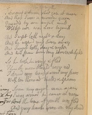 The Angel (Songs of Experience) - William Blake: Rossetti Manuscript, 1793, No. 52, page p. 103 rev. - The Angel