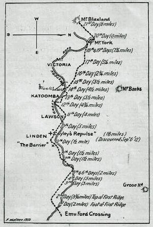 1813 crossing of the Blue Mountains - A sketch of their route, prepared by Frank Walker in 1913. The Great Western Road has been inserted to show how closely it has followed the track of the explorers in its general direction.