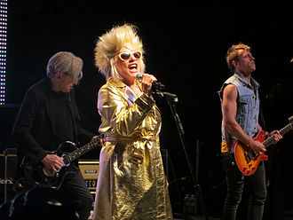 Blondie (band) - Chris Stein, Debbie Harry, and Tommy Kessler perform at the Mountain Winery in Saratoga, California in 2012.