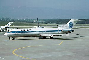 Geneva Airport - Pan Am Boeing 727-200 in Geneva in 1987. A Finnair DC-9 is also visible