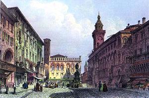Bologna Piazza Maggiore c1855