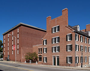 Waltham-Lowell system - One of the last remaining textile mill boarding houses in Lowell, Massachusetts on right. Part of the Lowell National Historical Park