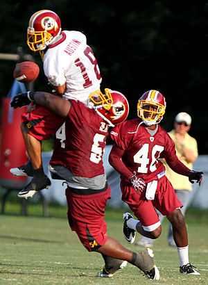 Brandyn Thompson - Thompson (right) during Redskins training camp in 2011.