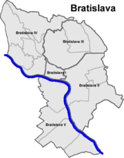 Karte mit den Bezirken und Stadtteilen Bratislavas