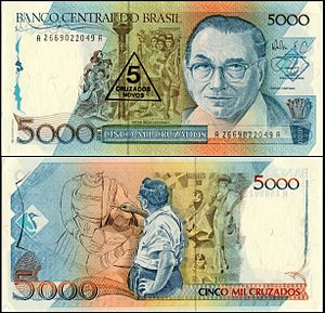 Candido Portinari - A 1989 Brazilian banknote featuring Portinari on both sides