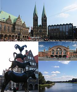 Top: Bremen town hall, St. Peter's Cathedral, and parliament  Left: The Bremen Town Musicians statue.  Upper right: Main station in Bremen.Lower right: Werdersee