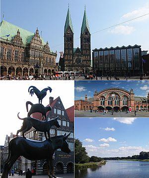Bremen - Clockwise from top: Bremer Marktplatz, Bremen Hauptbahnhof, the Werdersee and the Town Musicians statue.