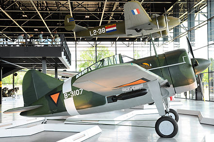 Replica of Lt. Gerard Bruggink's B-339C at the National Military Museum in Soesterberg, Netherlands Brewster B-339 Buffalo.jpg