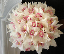 A bridal bouquet consisting of Cymbidiums, fabricated in classic craftsmanship