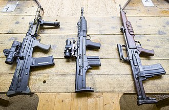 SA80 - Pictured left to right are the SA80-A2, XL 60 and EM-2