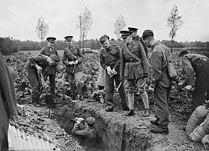 I Corps (United Kingdom) - General Sir John Dill, GOC I Corps, inspecting soldiers digging trenches at Flines, France.