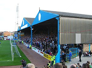Terrace (stadium) - The Warwick Road End a covered Terrace at Brunton Park, home of Carlisle United F.C.