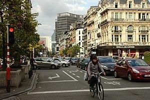 Boulevard Anspach - View toward Place de Brouckère along the boulevard.