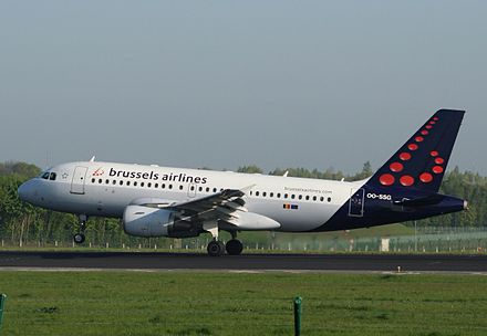 Brussels Airlines Airbus A319 landing at Brussels Airport in Zaventem Brussels Airlines Airbus A319 landing at Brussels Airport.jpg