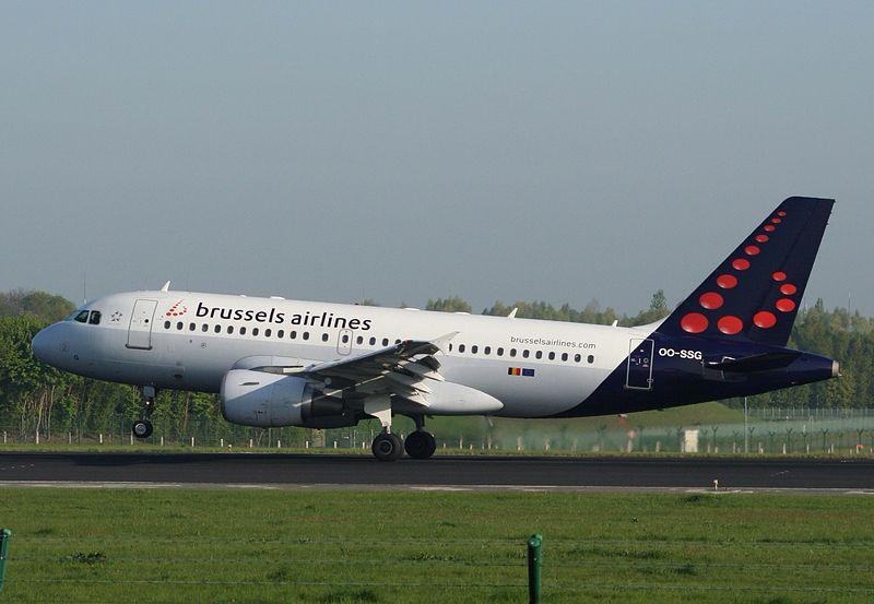 Brussels Airlines Airbus A319 landing at Brussels Airport.jpg