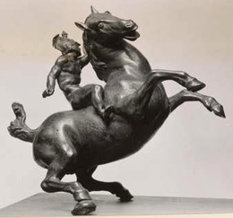 Budapest Rearing Horse and Mounted Warrior, right side, by E.C.Rae.png