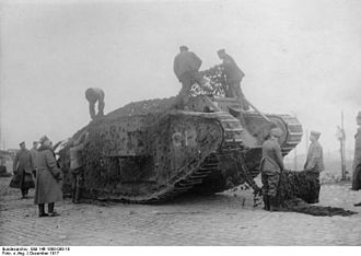 British heavy tanks of World War I - A female Mark IV tank C14. Photographed with German forces after the Battle of Cambrai. December 1917