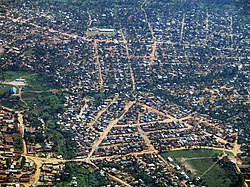 Bunia from the air, looking north toward the Nyakasanza district