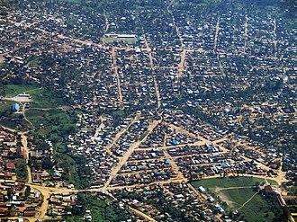 Bunia - Bunia from the air, looking north toward the Nyakasanza district