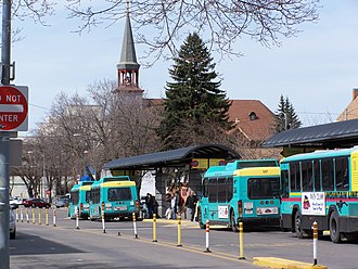 Transportation in Montana - Mountain Line buses queue to pick up passengers in Missoula.