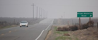 California State Route 33 - A foggy winter day looking northbound south of Brown Material Road near Blackwells Corner.