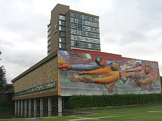 David Alfaro Siqueiros - David Siqueiros mural: El pueblo a la universidad, la universidad al pueblo, National Autonomous University of Mexico, 1952–1956.