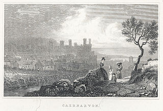 Caernarvon. (Two prints on one sheet, see Notes)
