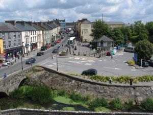 Cahir - Castle Street, as viewed from the walls of Cahir Castle.