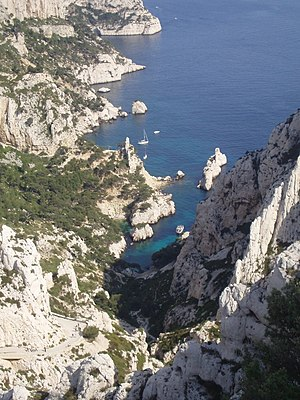 Calanque - Calanque de Sugiton (note the tourist boat entering it).