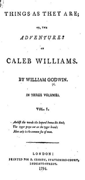 Things as They Are; or, The Adventures of Caleb Williams - Title page from the first edition of Caleb Williams
