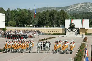 1st Foreign Parachute Battalion - Each year, the French Foreign Legion commemorates and celebrates Camarón in its headquarters in Aubagne and Bastille Day military parade in Paris; featuring the Pionniers leading and opening the way.