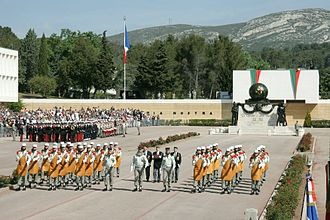 6th Foreign Engineer Regiment - Each year, the French Foreign Legion commemorates and celebrates Camarón in its headquarters in Aubagne and Bastille Day military parade in Paris; featuring the Pionniers leading and opening the way.