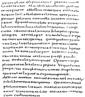 Muratorian fragment - last page of the Canon Muratori, as published by Tregelles 1868