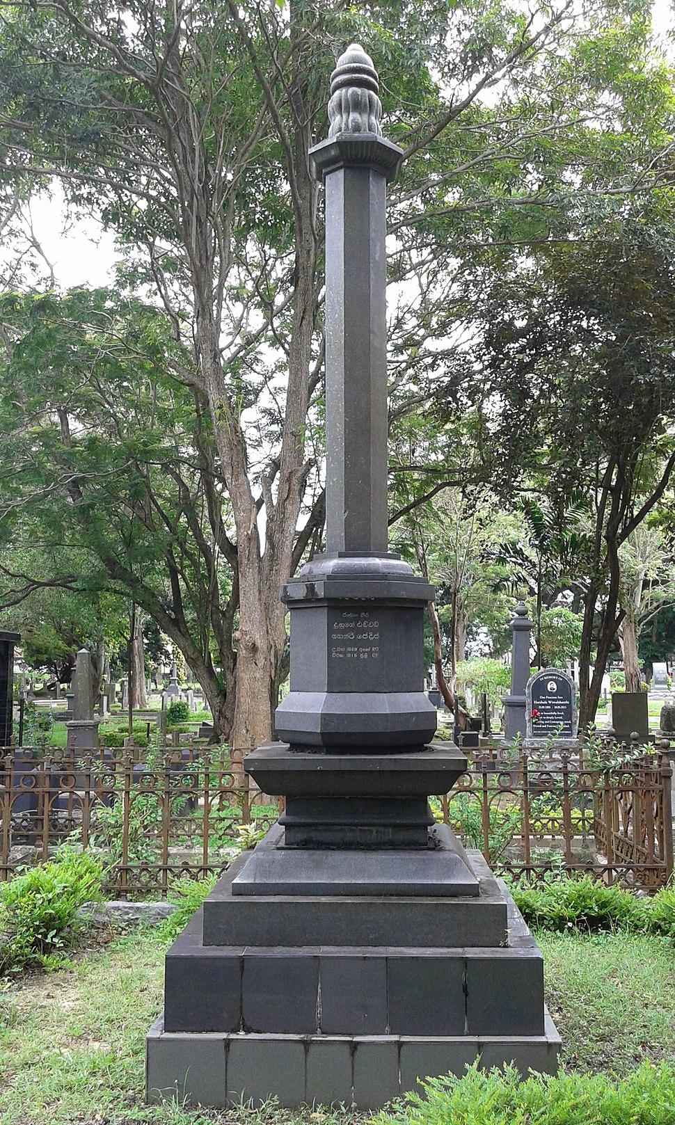 Captain Henry Pedris Tomb at Borella Cemetery