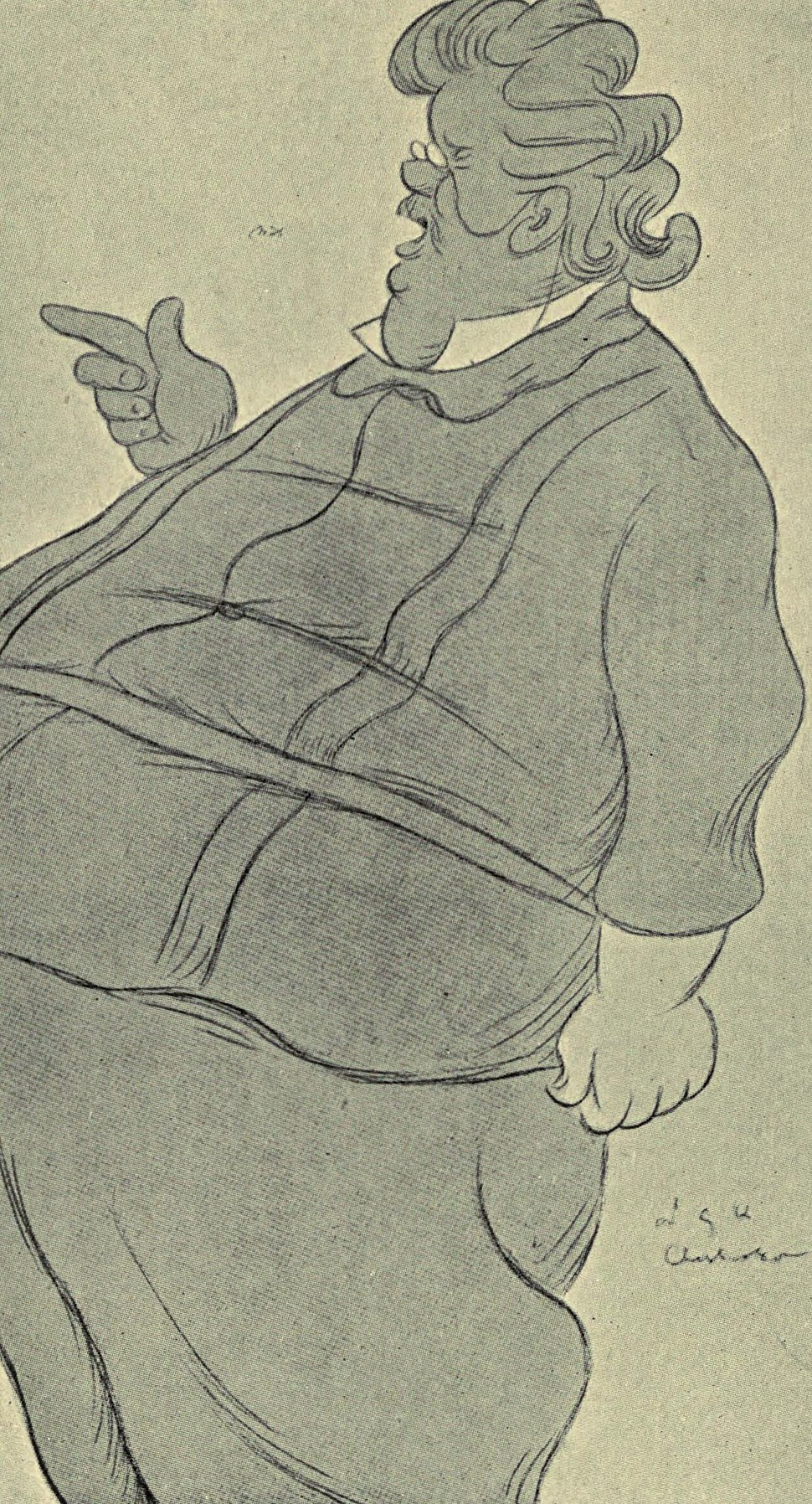 Caricature of Chesterton, by Beerbohm