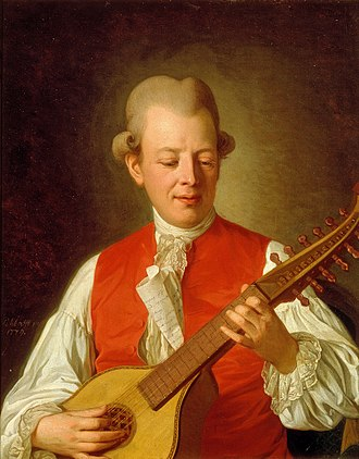 Carl Michael Bellman - Bellman playing the cittern, in a portrait by Per Krafft, 1779