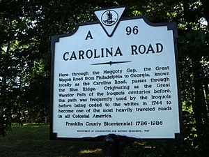 Great Wagon Road - Historic marker for the Carolina Road, Franklin County, Virginia